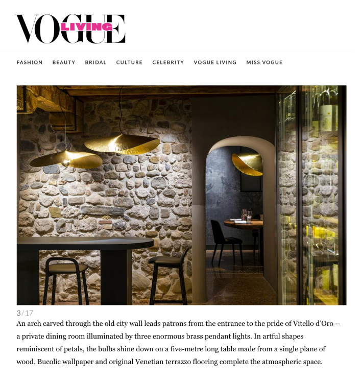 Ristorante 'Vitello d'Oro' on Vogue Living